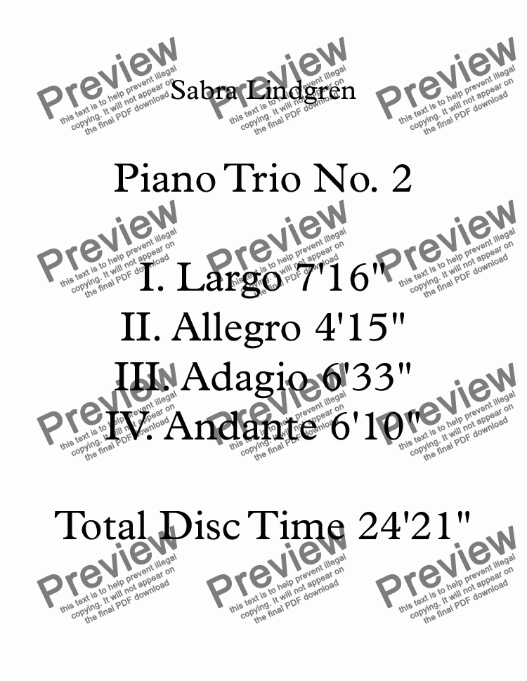 page one of Piano Trio No. 2 in A II. Allegro