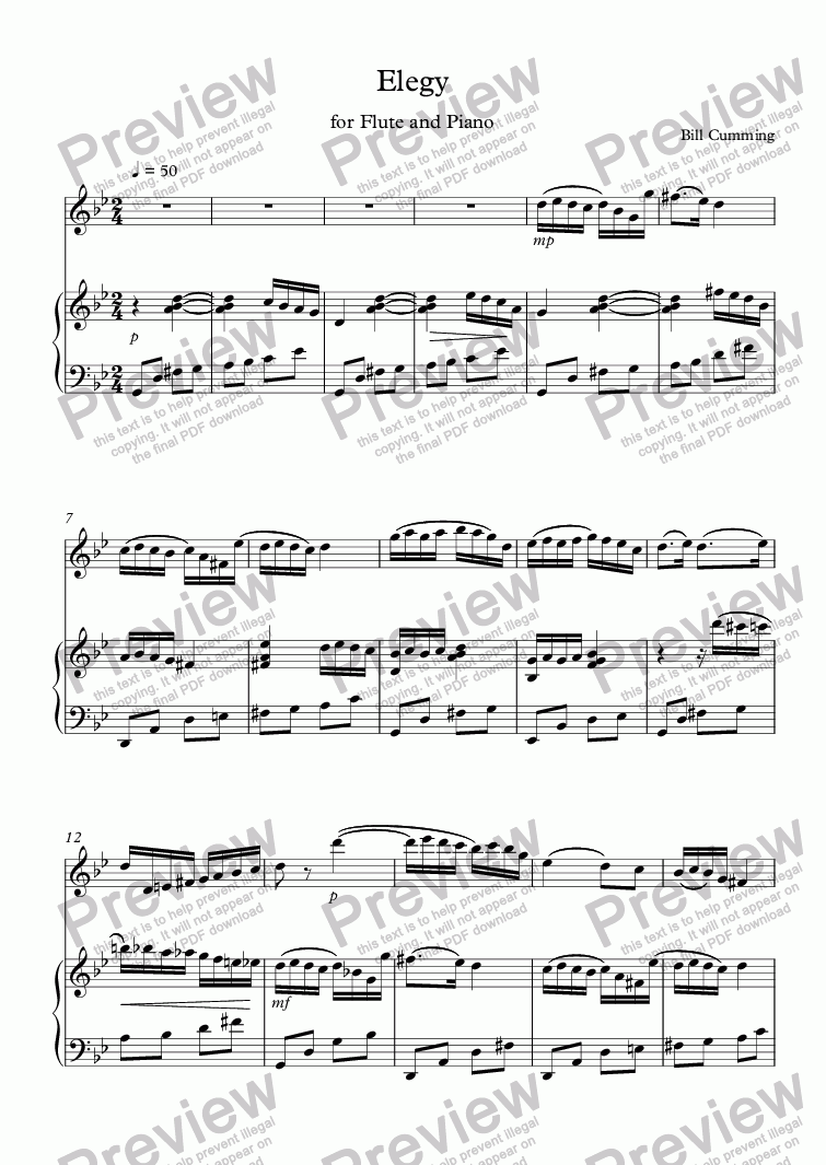 page one of Elegy for Flute and Piano