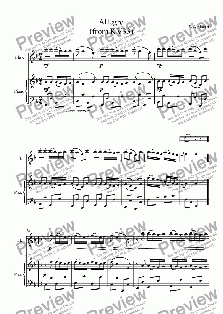 page one of Allegro (from KV33)