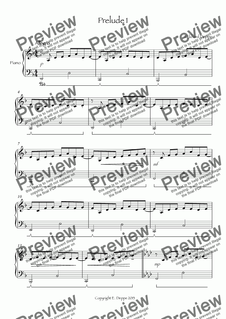 page one of Prelude 1 ( From 12 Pop-Preludes Easy to Moderate)