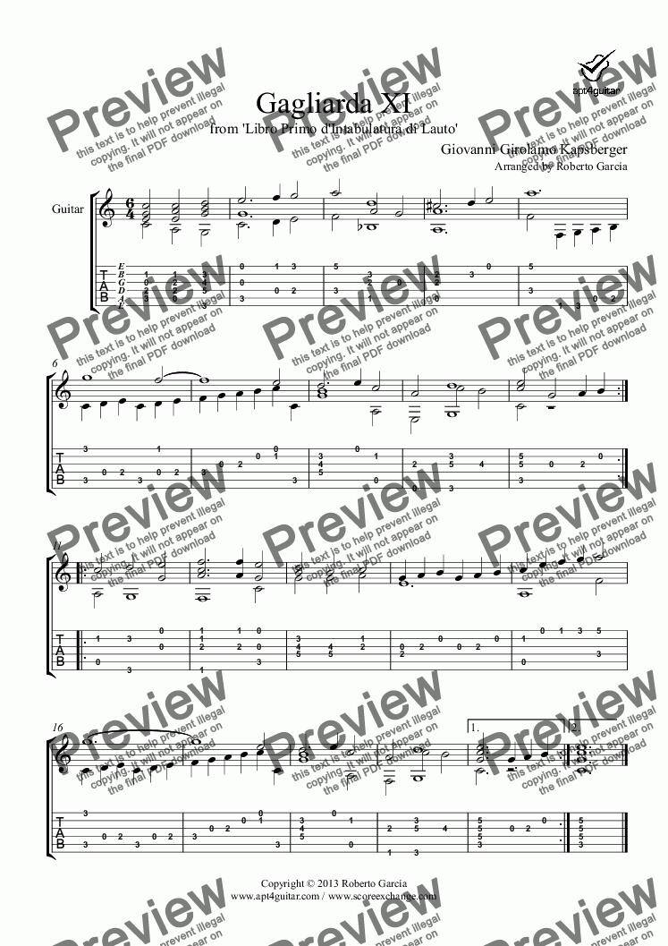 page one of Gagliarda XI for solo guitar
