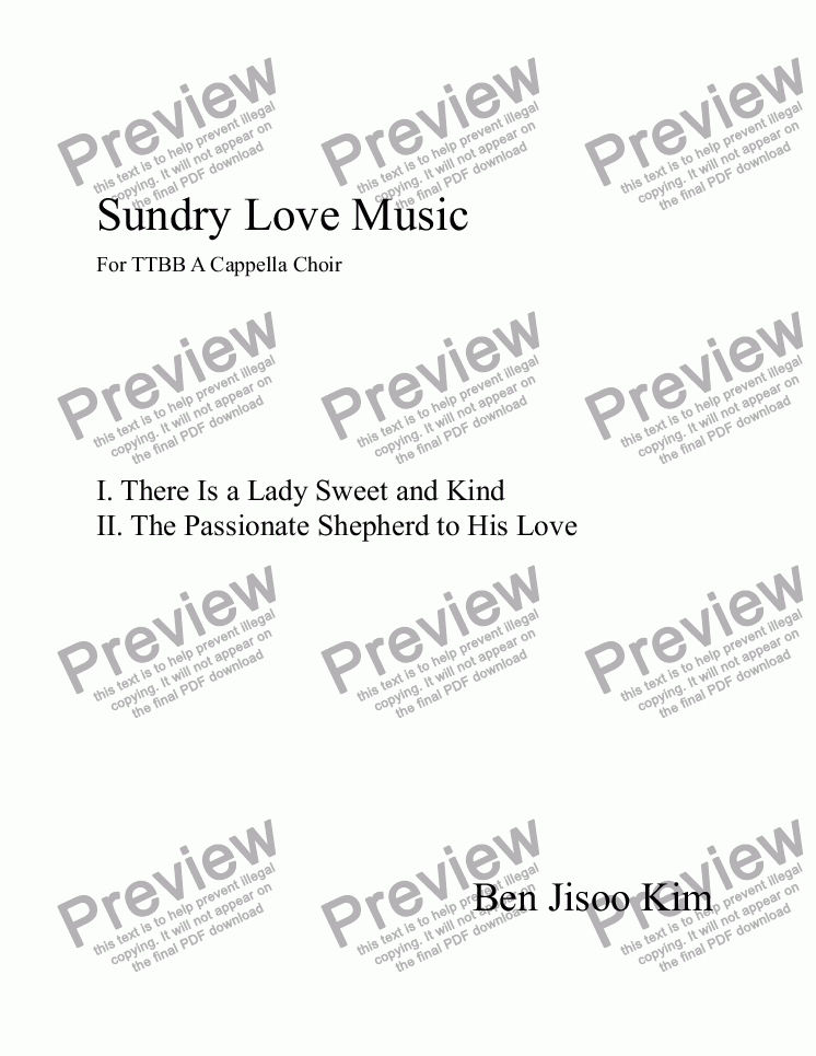 page one of Sundry Love Music