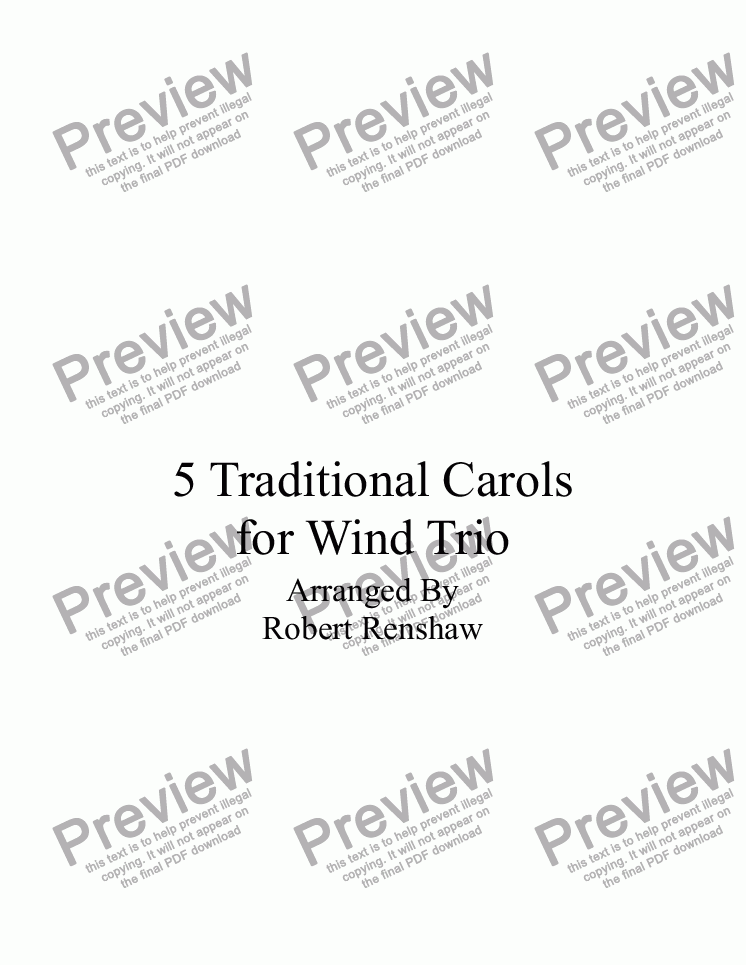 page one of 5 Traditional Carols for Wind Trio(Ob, Cl, Bsn)