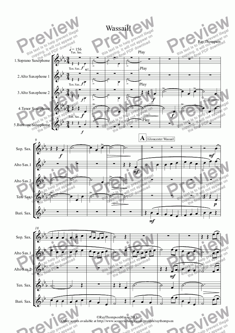 page one of Wassail! (sax quintet) (Gloucester Wassail, Somerset Wassail and The Wassail Song.)