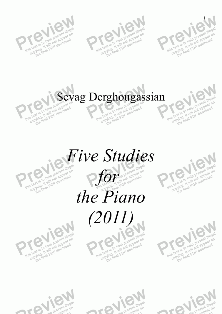 page one of Five Studies As One Opus 15 - for Piano