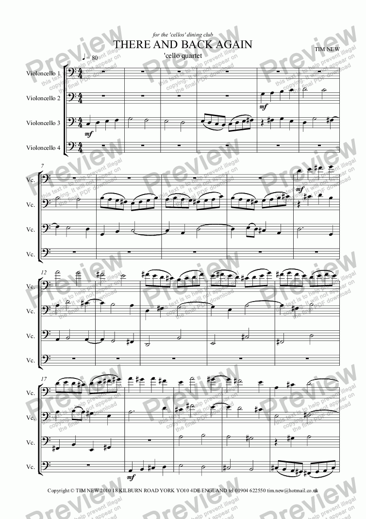 page one of THERE AND BACK AGAIN cello quartet