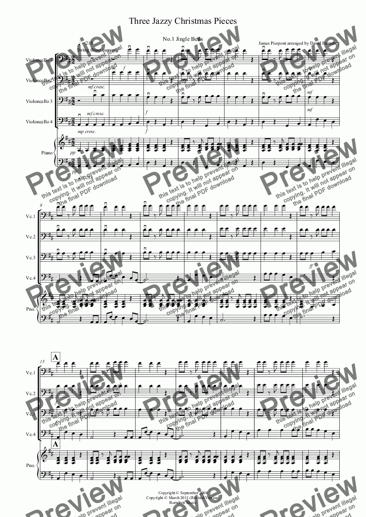 page one of 3 Jazzy Christmas Pieces for Cello Quartet