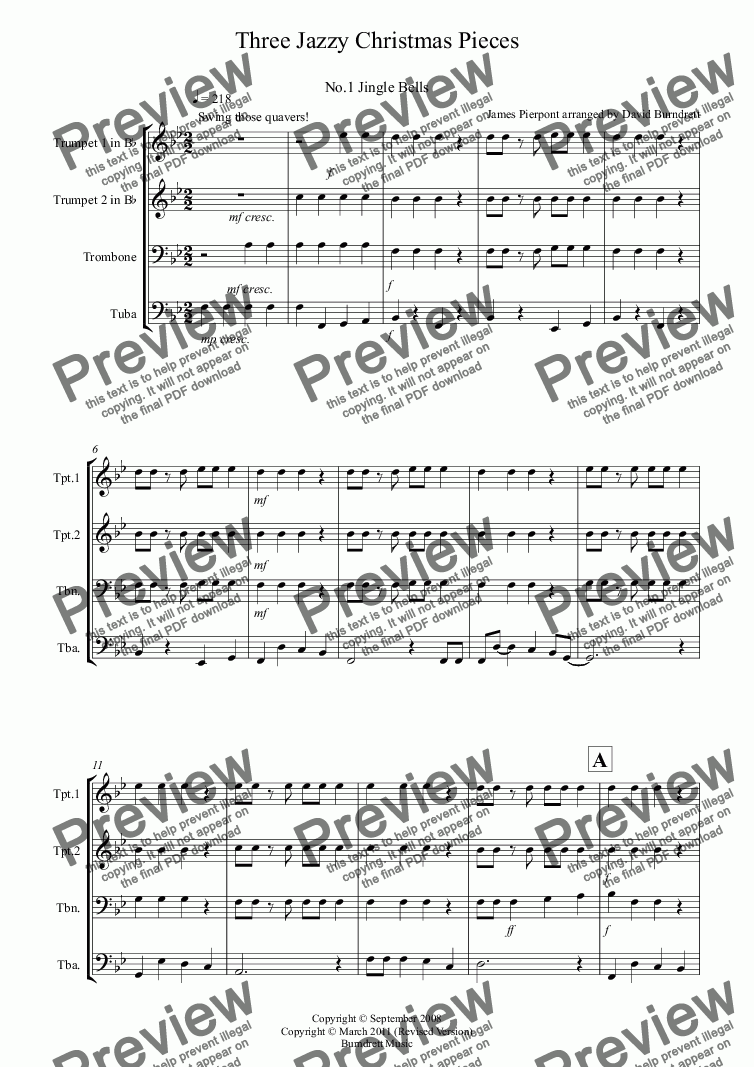 page one of 3 Jazzy Christmas Pieces for Brass Quartet