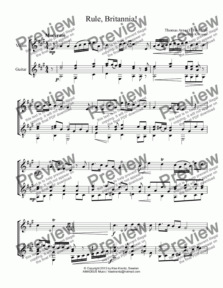 page one of Rule, Britannia! for violin and guitar (A Major)