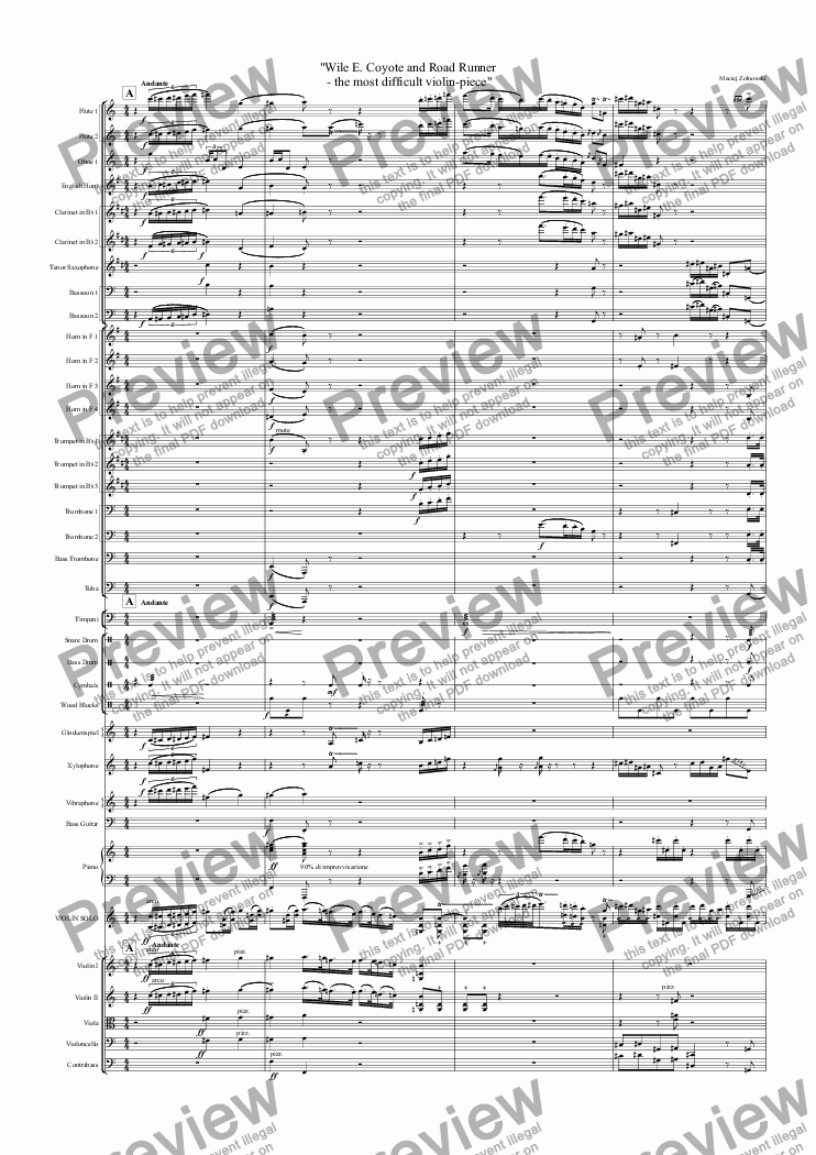"page one of ""Wile E. Coyote and Road Runner  - the most difficult violin-piece"""