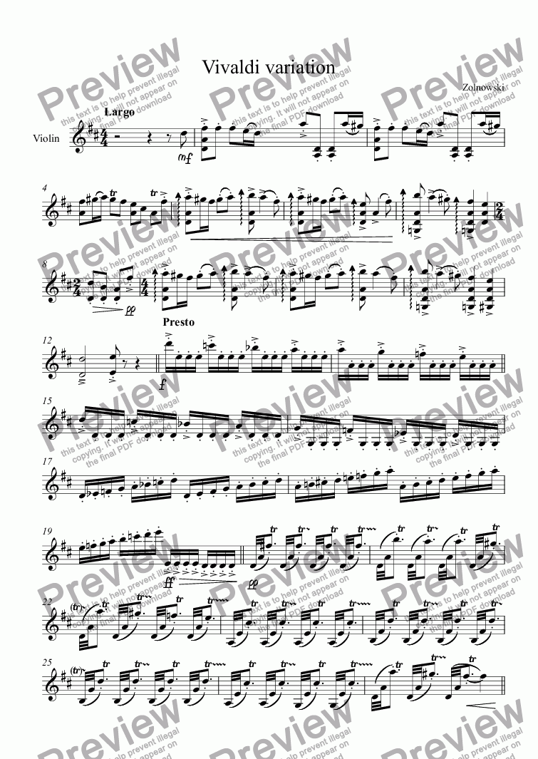 page one of Vivaldi variation