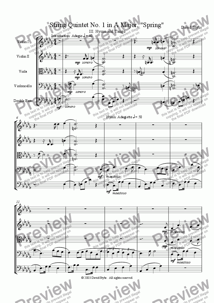 "page one of String Quintet No. 1 in A Major, ""Spring"": III. Hymn and Tango"