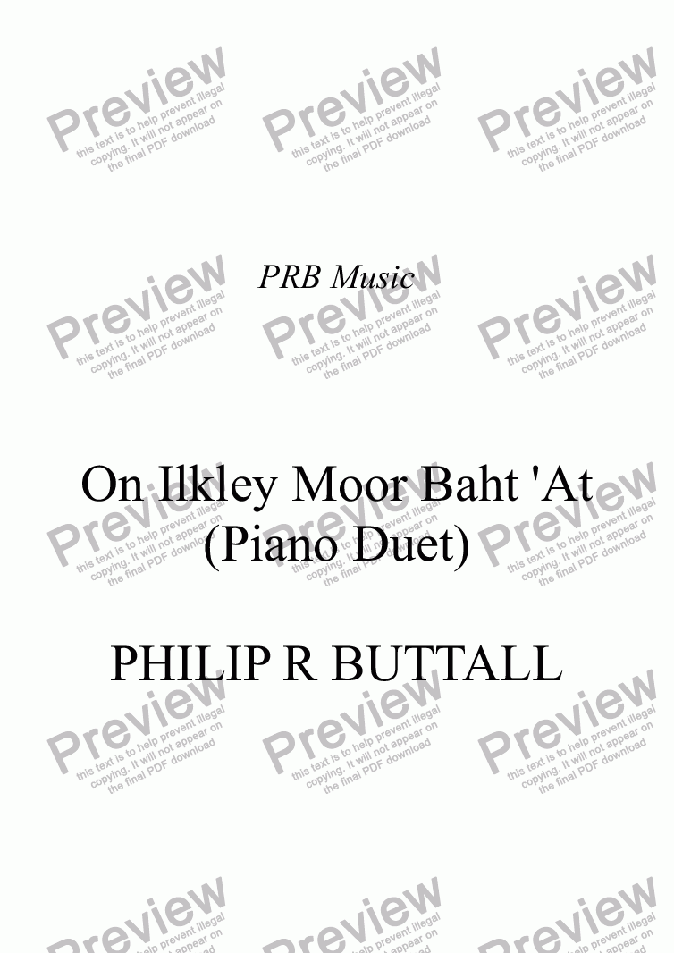 page one of On Ilkley Moor Baht 'At (Piano Duet)