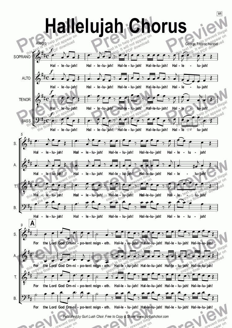 page one of Hallelujah Chorus