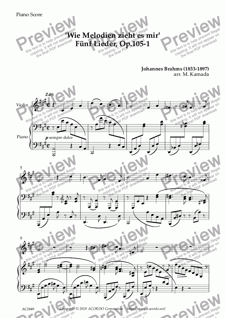 page one of 'Wie Melodien zieht es mir (It moves like a melody)' Op.105-1 for Violin & Piano