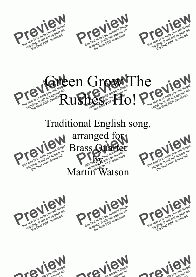 page one of Green Grow The Rushes. Ho! for Brass Quartet