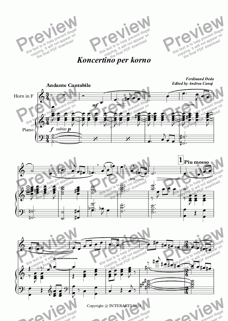 page one of Concertino for horn and piano