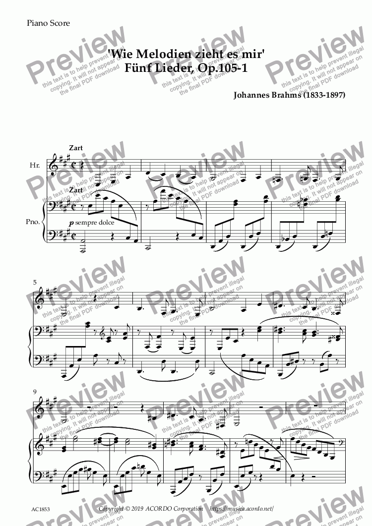 page one of 'Wie Melodien zieht es mir (It moves like a melody)' Op.105-1 for Horn & Piano