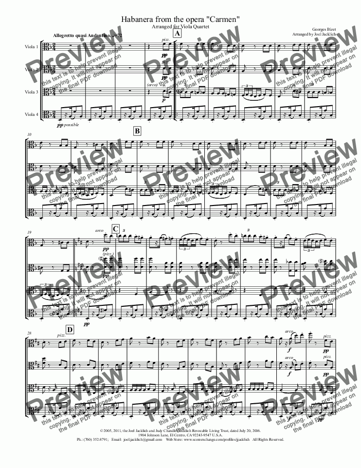 "page one of Habanera from ""Carmen"" for Viola Quartet"