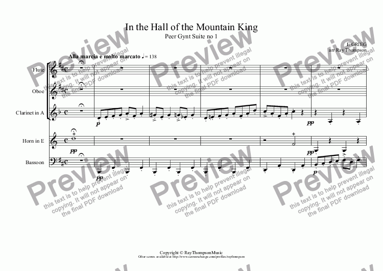 page one of Peer Gynt Suite no 1 Op.46: 4.In the Hall of the Mountain King