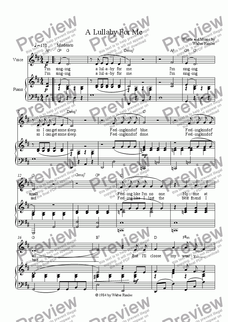 page one of A Lullaby For MeASALTTEXT