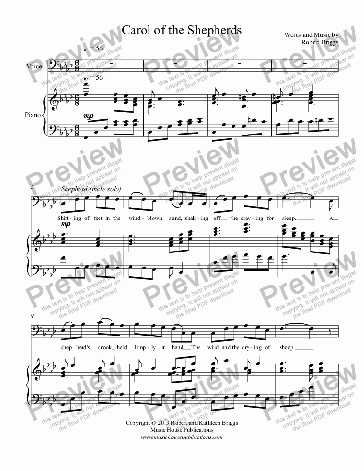page one of Carol of the Shepherds (vocal duet)