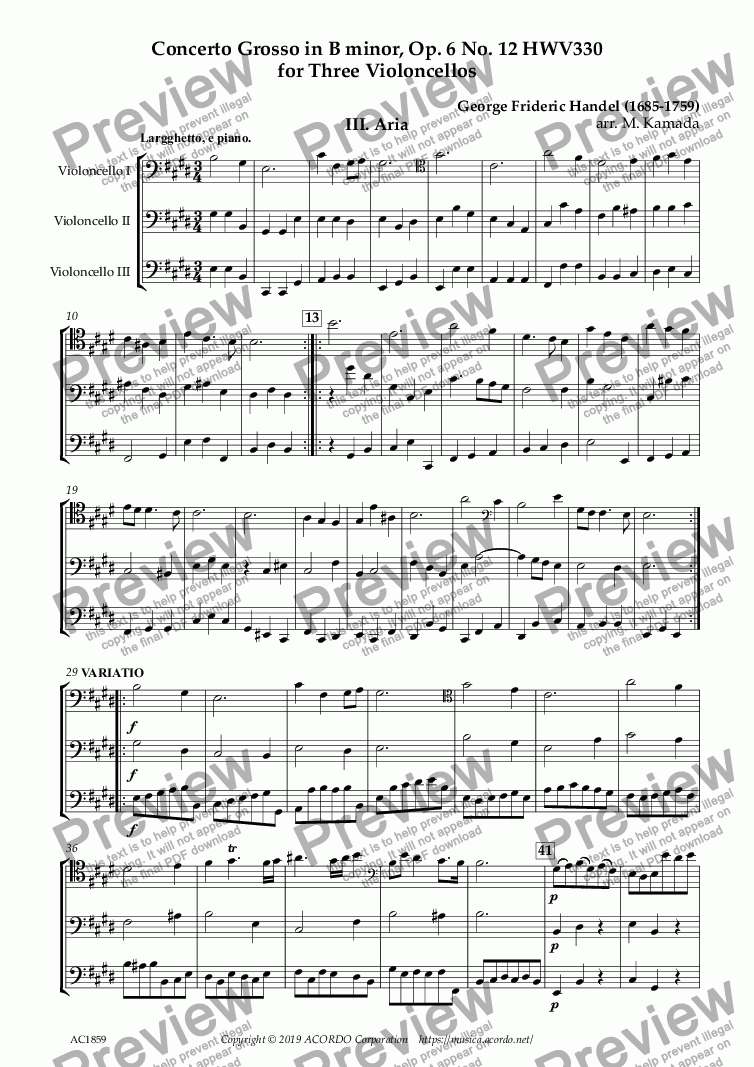 page one of Aria from Concerto Grosso, Op.6-12 HWV330 for Three Violoncellos