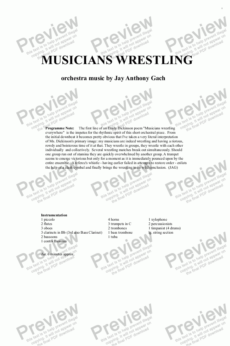 page one of Musicians Wrestling...