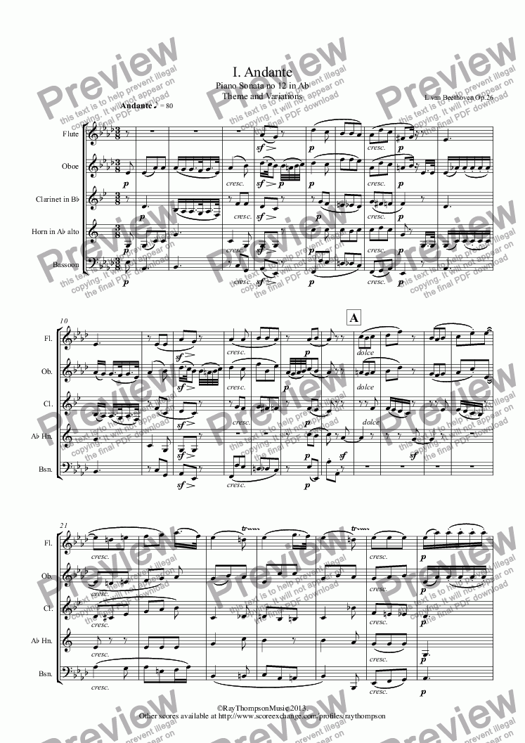 page one of Beethoven: Piano Sonata no 12 in Ab Op.26: Movt 1. Andante and Variations (arranged wind quintet)ASALTTEXT