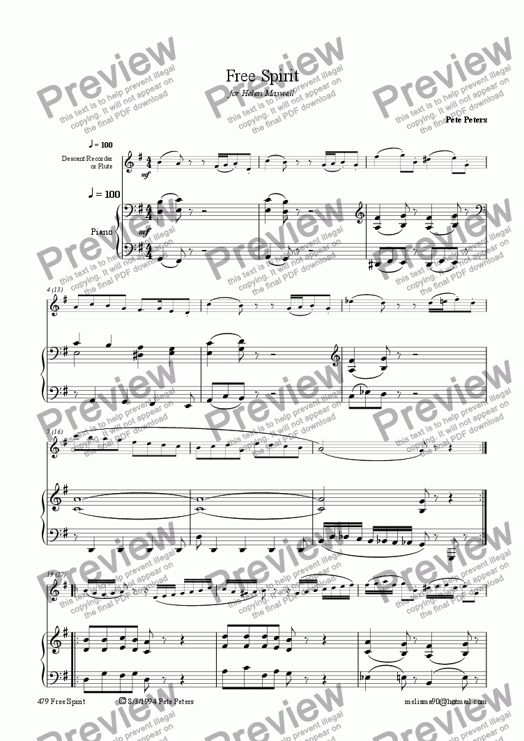 page one of Free Spirit  [Solo inst +Piano]