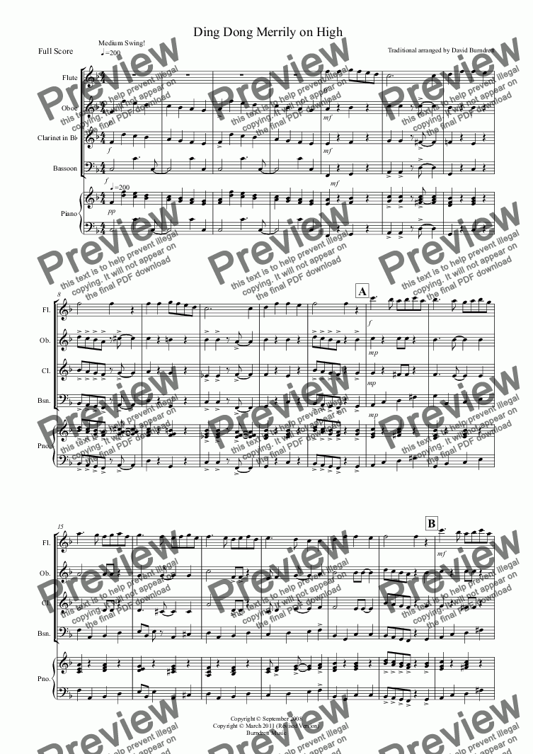 page one of Ding Dong Merrily on High (Jazzy Style!) for Wind Quartet