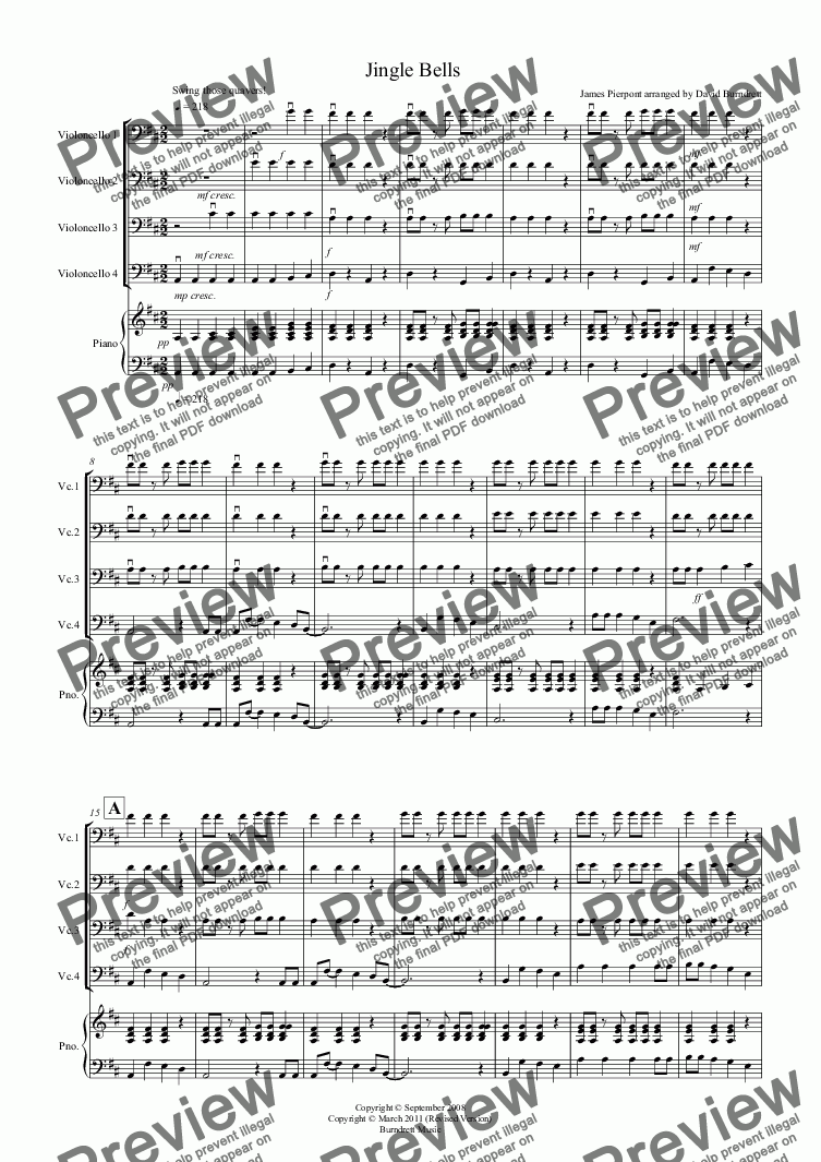 page one of Jingle Bells (Jazzy Style!) for Cello Quartet
