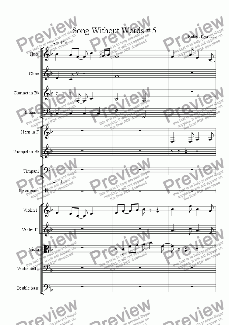 page one of Song Without Words # 5