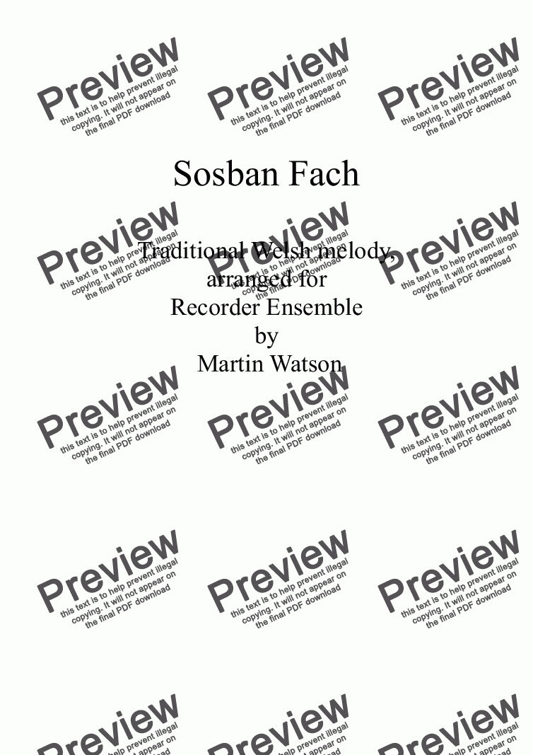 page one of Sosban Fach for Recorder Ensemble