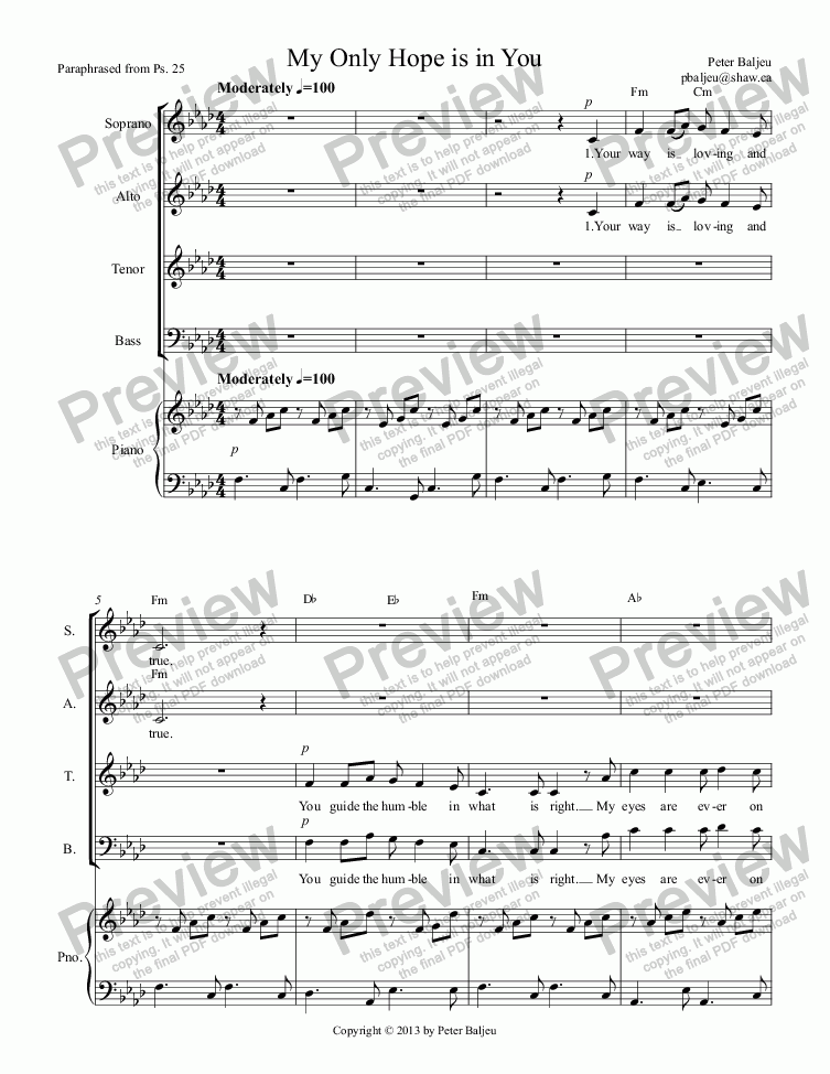 My Only Hope is in You (Choral Version) for Choir + keyboard by Peter  Baljeu - Sheet Music PDF file to download