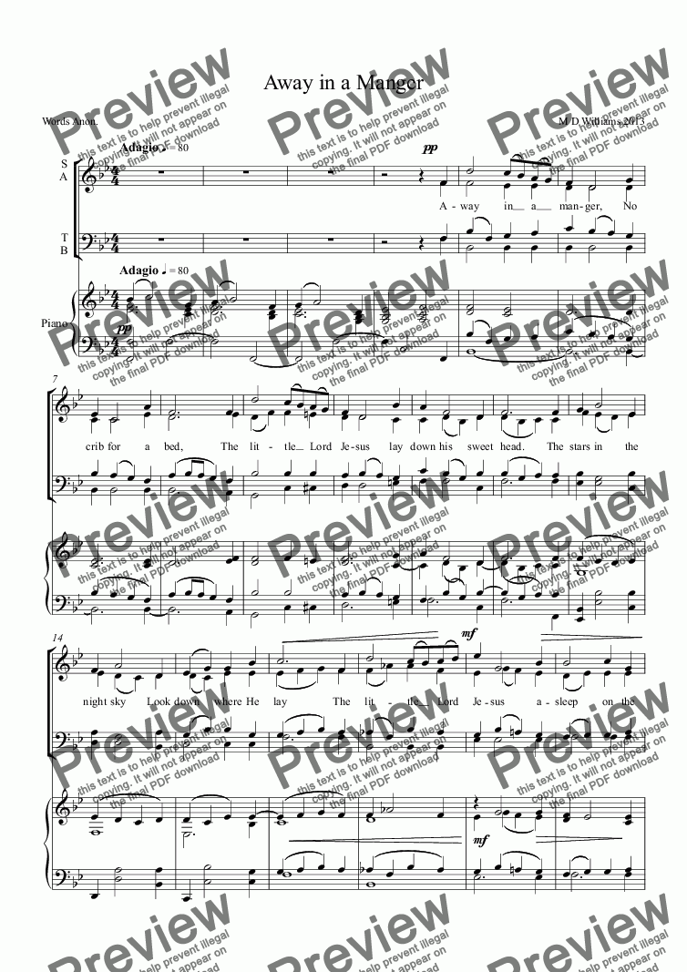 page one of Away in a Manger: New melody