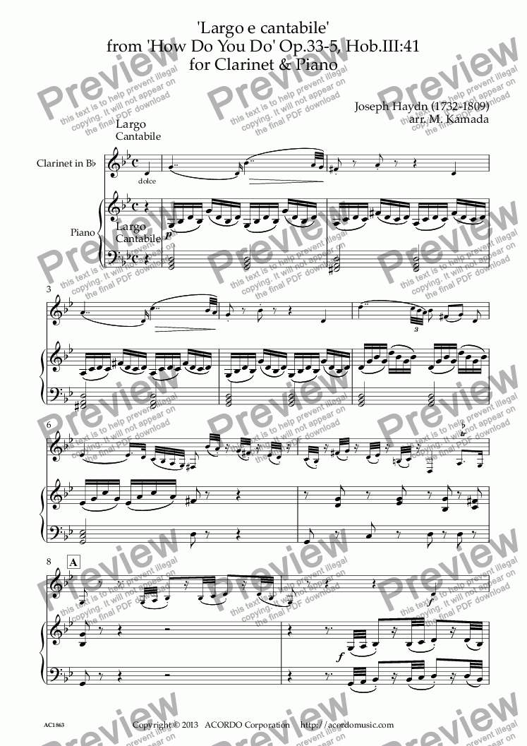 page one of 'Largo e cantabile'  from 'How Do You Do' Op.33-5, Hob.III:41 for Clarinet & Piano