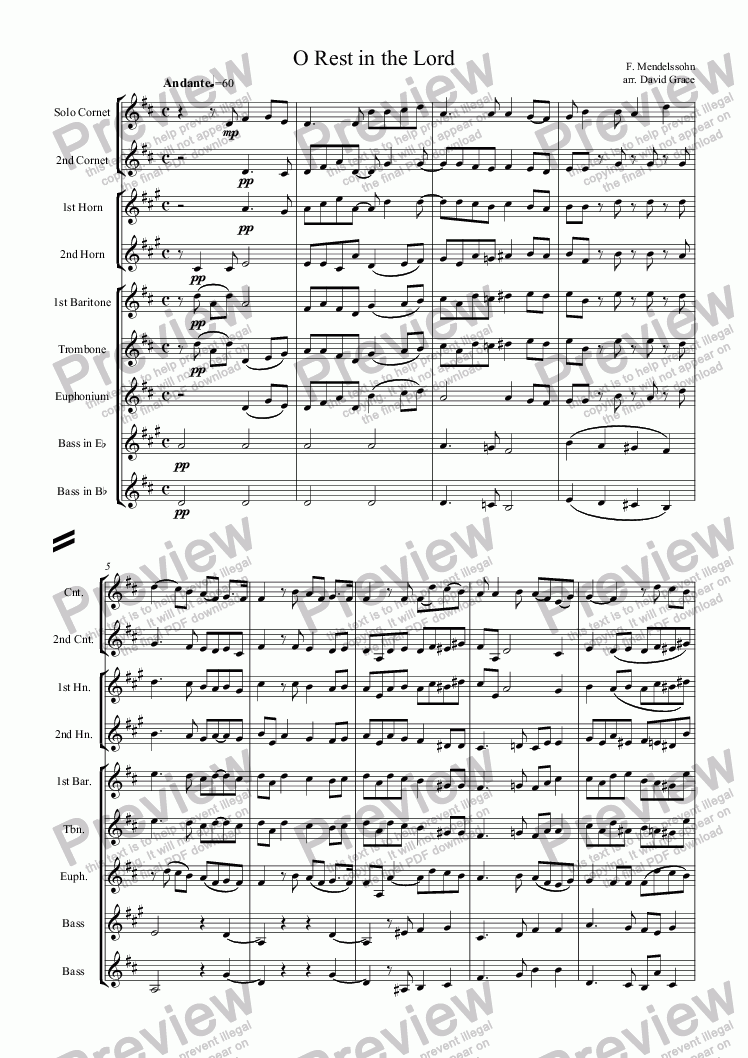 page one of O Rest in the Lord (Mendelssohn)