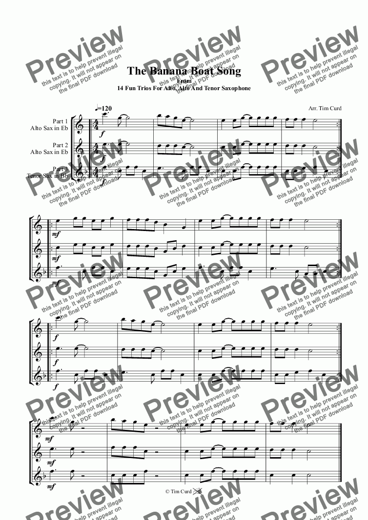 page one of The Banana Boat Song. Trio For Alto, Alto And Tenor Saxophone