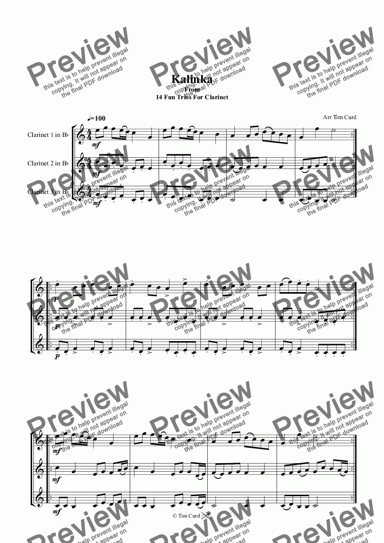 Kalinka  Clarinet Trio for Trio of Clarinets in Bb by Trad  - Sheet Music  PDF file to download