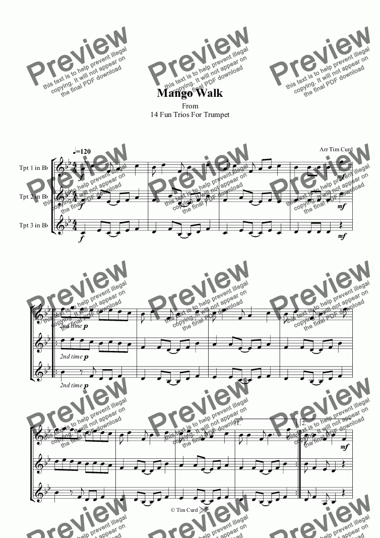 page one of Mango Walk. Trumpet Trio