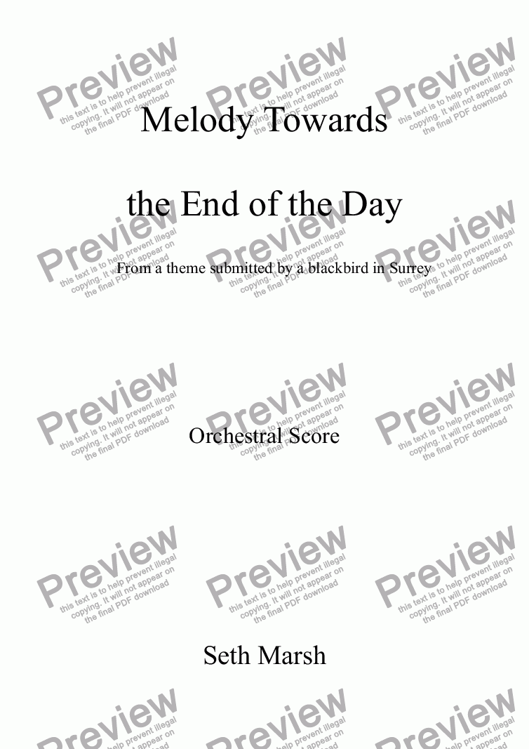 page one of Melody Towards the End of the Day