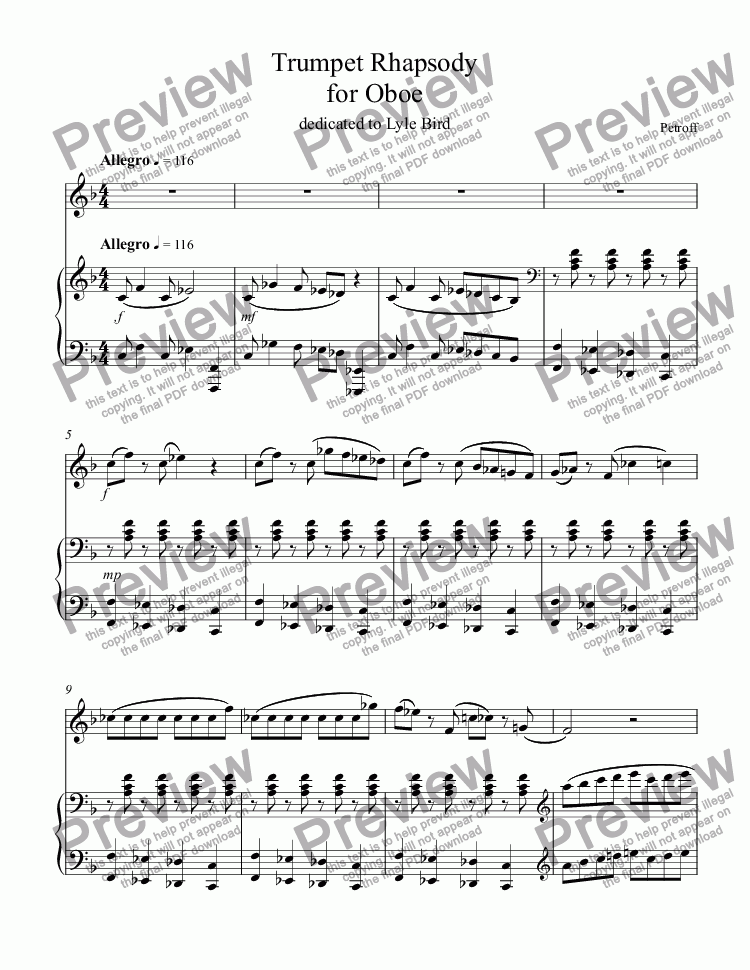 page one of Suite for Oboe and Piano