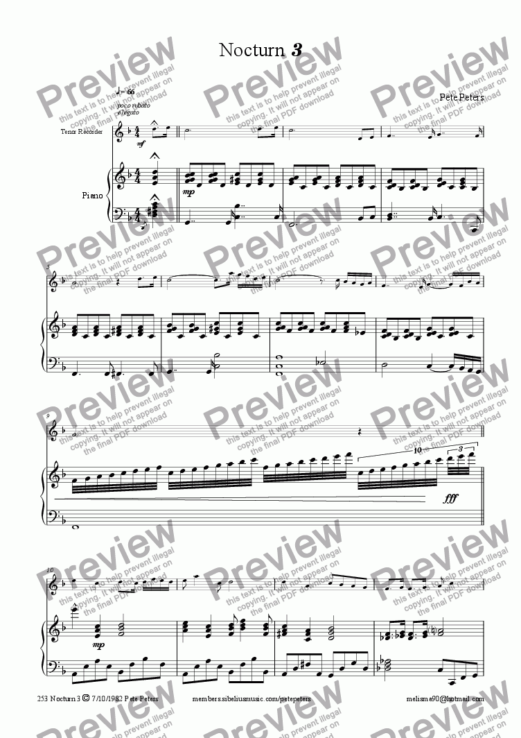 page one of Nocturn 3 (Tenor rec or Flute)ASALTTEXT