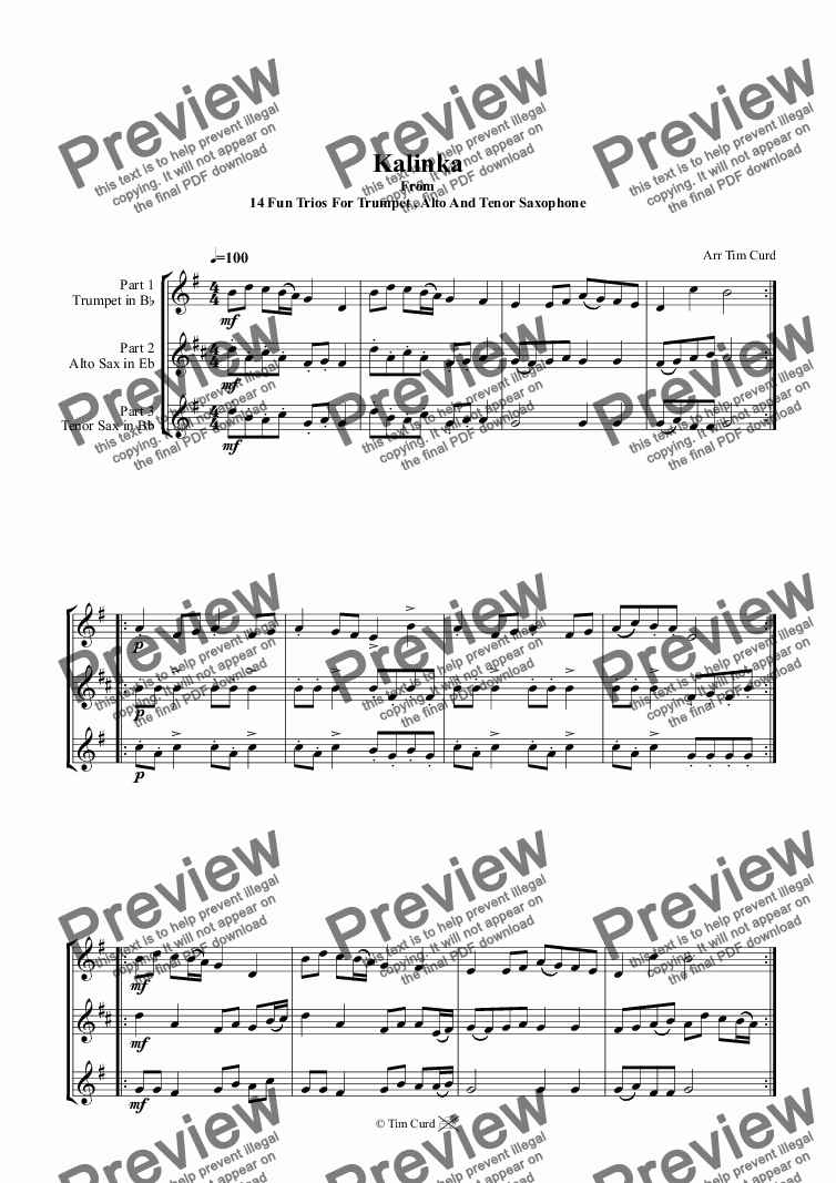 page one of Kalinka. Trio For Trumpet, Alto And Tenor Saxophone