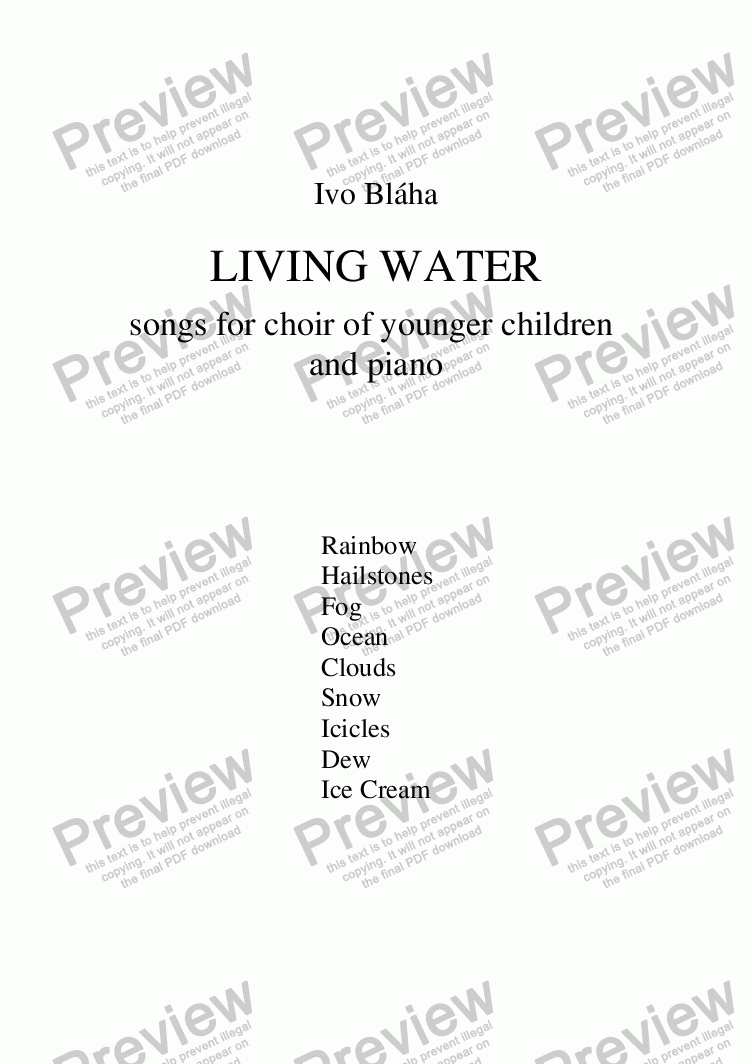 page one of LIVING WATER (Živá voda) - 9 songs for choir of younger children & piano (English words)