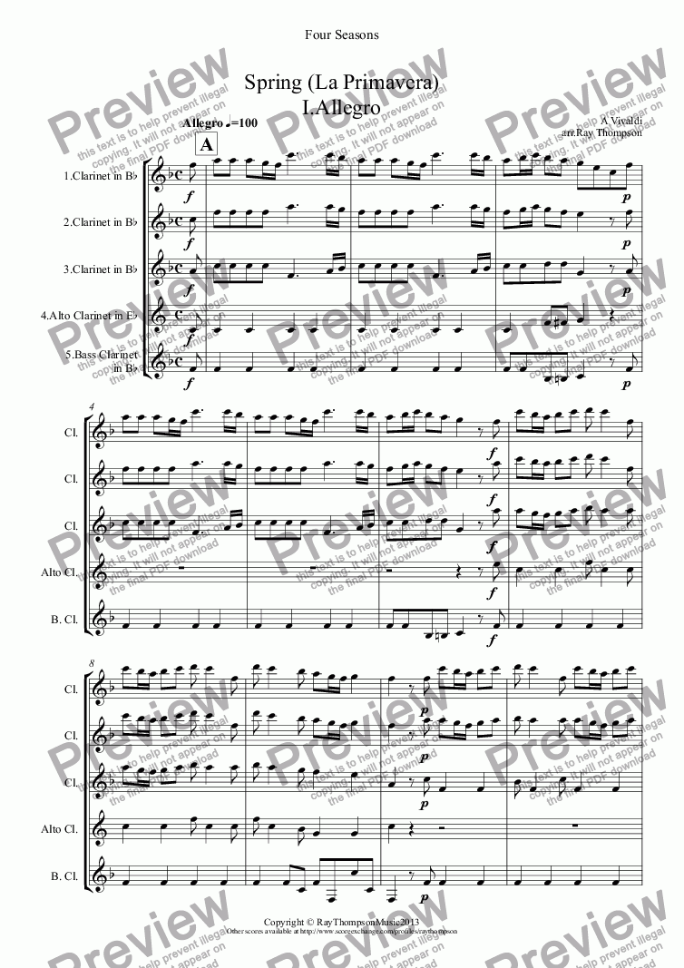 "page one of Four Seasons: A Suite of 4 Movements (easier and abridged):Spring Mvt.I ('Arrival of Spring""), Winter Mvt.II (""Peaceful Days in front of the Fire""), Autumn Mvts.I (""Peasant's Dance"" & III ('The Hunt"")(Clarinet Quintet)"