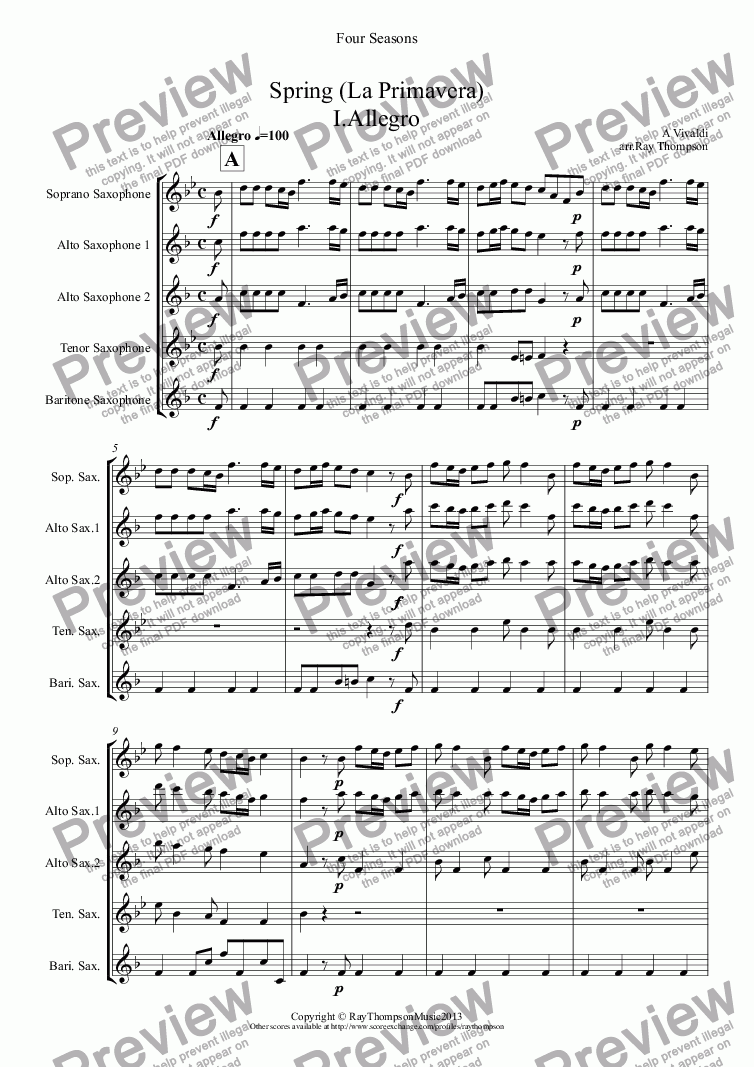 "page one of Four Seasons: A Suite of 4 Movements (easier and abridged):Spring Mvt.I ('Arrival of Spring""), Winter Mvt.II (""Peaceful Days in front of the Fire""), Autumn Mvts.I (""Peasant's Dance"" & III ('The Hunt"")(Saxophone Quintet)(SAATB)"