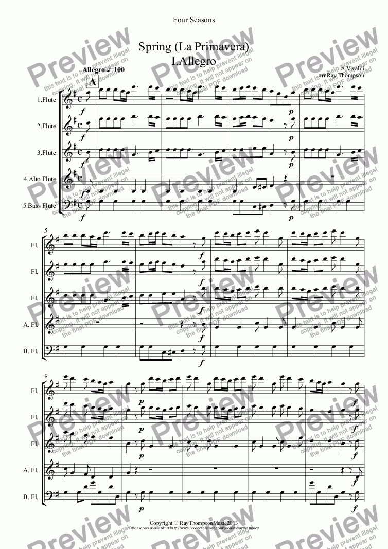 page one of Four Seasons: A Suite of 4 Movements (easier and abridged):Spring Mvt.I ('Arrival of Spring
