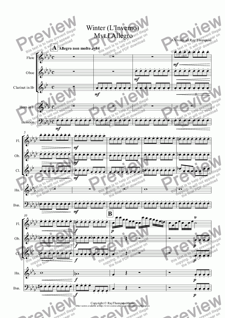"page one of Four Seasons:Winter (L'Inverno) Mvt.I Allegro (""Frozen mid the frosty snow......teeth chattering in the bitter chill"")(Wind Quintet)"